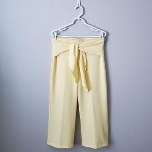 Verve Blues Yellow High Rise Wrap Belt Capri Pants
